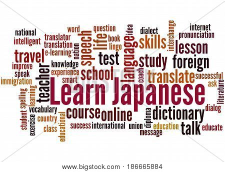 Learn Japanese, Word Cloud Concept
