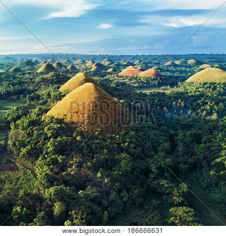 Aerial view of Chocolate Hills. Bohol, Philippines 2017.
