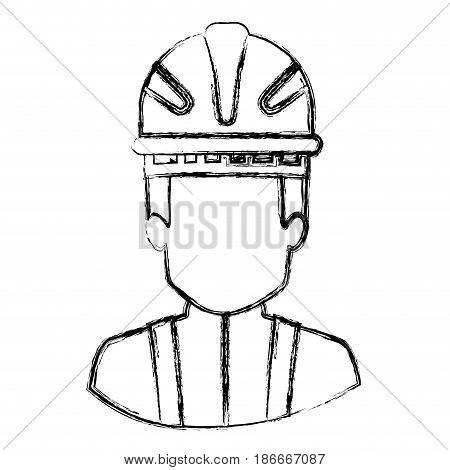 monochrome blurred contour with half body of faceless firefighter vector illustration