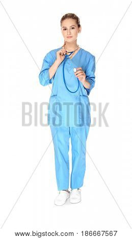 Young medical assistant with stethoscope on white background