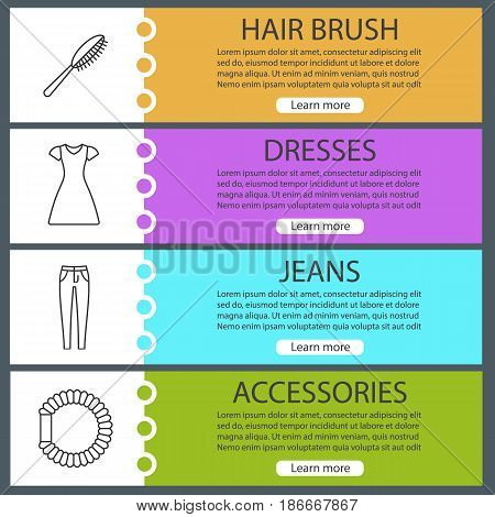 Women's accessories banner templates set. Hair brush and scrunchy, sun frock, jeans. Website menu items with linear icons. Color web banner. Vector headers design concepts