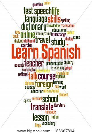 Learn Spanish, Word Cloud Concept 2
