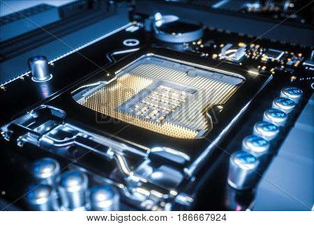 Computer motherboard cpu socket close up. 3d illustration