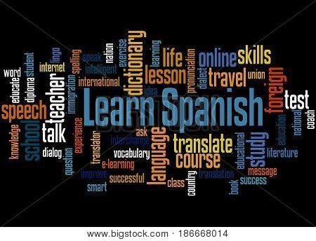Learn Spanish, Word Cloud Concept 3