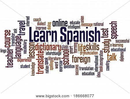 Learn Spanish, Word Cloud Concept 4