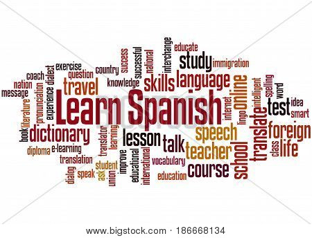 Learn Spanish, Word Cloud Concept 5
