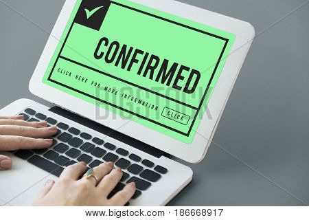 hands type and search guaranteed premium and exclusive product on laptop