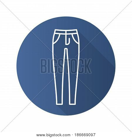 Women's skinny jeans. Flat linear long shadow icon. Trousers. Vector line symbol