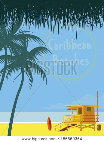Image of caribbean beach with life jackets