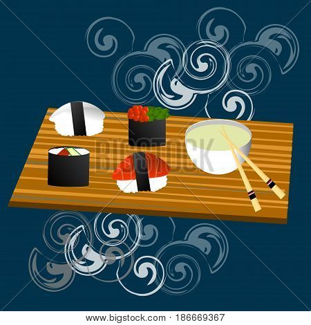 Sushi set, sea food , maki and rolls japanese cousene, asia culture
