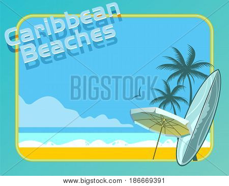 Image of caribbean beach with surf board and beach umbrella