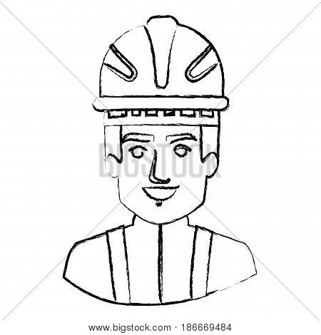 monochrome blurred contour with half body of firefighter vector illustration