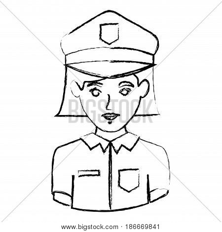 monochrome blurred contour with half body of policewoman vector illustration