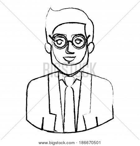 monochrome blurred contour with half body of man with beard and glasses and formal suit vector illustration