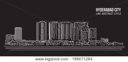 Cityscape Building Line art Vector Illustration design - Hyderabad city