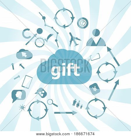 Text Gift. Holiday Concept . Set Of Web Icons For Business, Finance And Communication