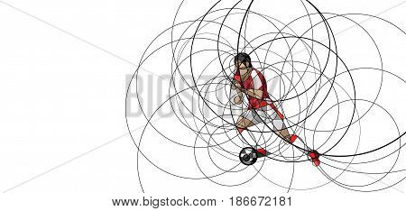 Abstract image of soccer or football player with ball, made with circle