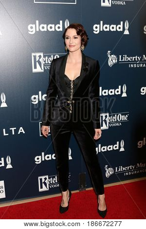 LOS ANGELES - APR 1:  Chyler Leigh at the 28th Annual GLAAD Media Awards at Beverly Hilton Hotel on April 1, 2017 in Beverly Hills, CA