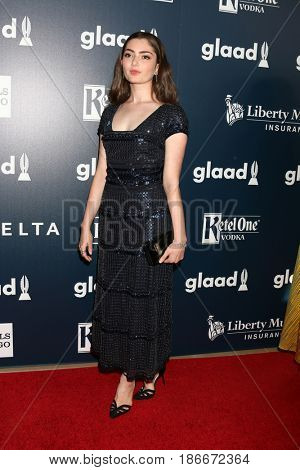 LOS ANGELES - APR 1:  Emily Robinson at the 28th Annual GLAAD Media Awards at Beverly Hilton Hotel on April 1, 2017 in Beverly Hills, CA