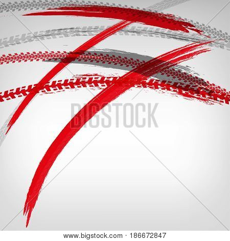 Motorcycle tire tracks vector illustration. Grunge automotive background element useful for poster, print, flyer, booklet, brochure and leaflet design. Editable graphic image in red and grey colors.