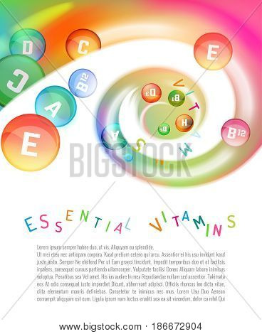 Vitamin complex. Different vitamins in pills flying in a swirl. Vector illustration in bright rainbow colours. Beautiful template with copyspace for leaflet, brochure, poster or advertorial design.