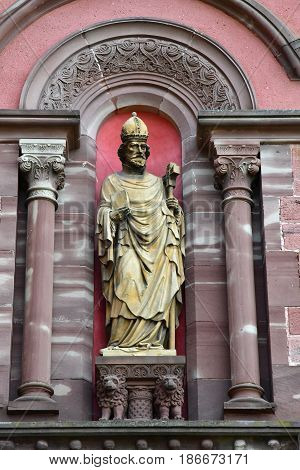 Eguisheim France - july 23 2016 : Pope Leon 9 statue in the Saint Leon church