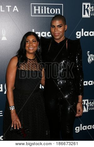 LOS ANGELES - APR 1:  Cookie Johnson, EJ Johnson at the 28th Annual GLAAD Media Awards at Beverly Hilton Hotel on April 1, 2017 in Beverly Hills, CA