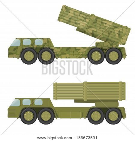 Military rocket launcher. Isolated on white background. Vector illustration