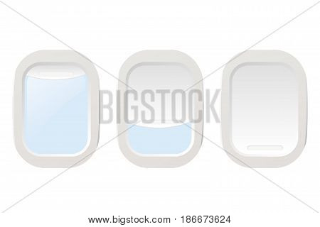 Set Airplane illuminators. Window. Isolated on white background. Vector illustration