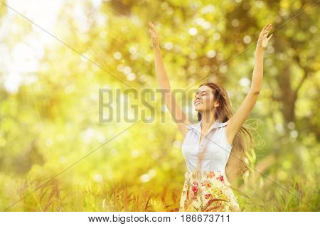 Happy Woman Life Style Smiling Girl Raised Open Arms Active Outdoor Relax in Nature