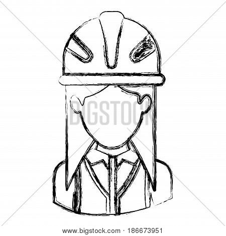 monochrome blurred contour with half body of faceless female architect with helmet vector illustration