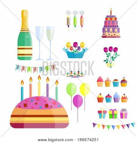 Party icons celebration happy birthday surprise decoration cocktail champagne event anniversary hat collection. Fun confetti and flags symbols present entertainment vector illustration.
