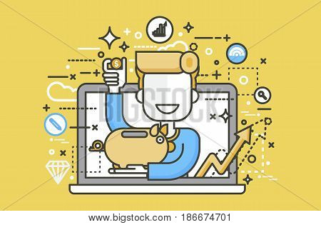 Stock vector illustration man piggy bank in hands design element for financial education, banking, deposit saving discount online promotion marketing management line art style yellow background icon