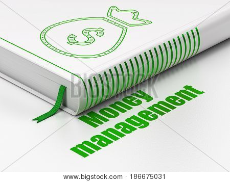 Money concept: closed book with Green Money Bag icon and text Money Management on floor, white background, 3D rendering