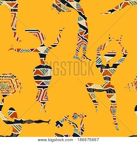 Ethnic yellow seamless texture with figures of dancing people. Vector illustration