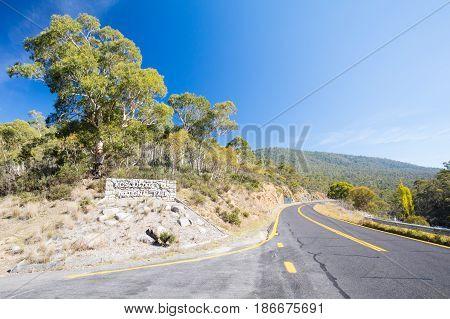 The Kosciusko National Park entrance near Perisher on a sunny autumn day in New South Wales, Australia