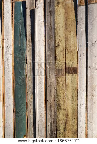 Painted fence Light Wood panel background. Old vintage planked vertical wooden texture. Boards empty clear background for flat lay photo design