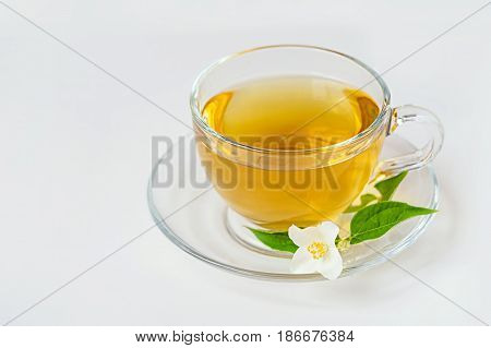 cup of green tea with jasmine flowers on white