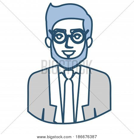 blue silhouette with half body of man with beard and glasses and formal suit vector illustration