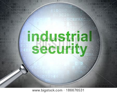 Protection concept: magnifying optical glass with words Industrial Security on digital background, 3D rendering