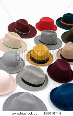Pile of Stilish hat for women-white background