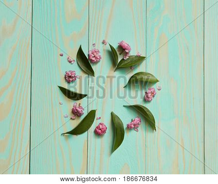 Frame of flowers and leaves