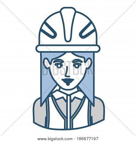 blue silhouette with half body of female architect with helmet vector illustration