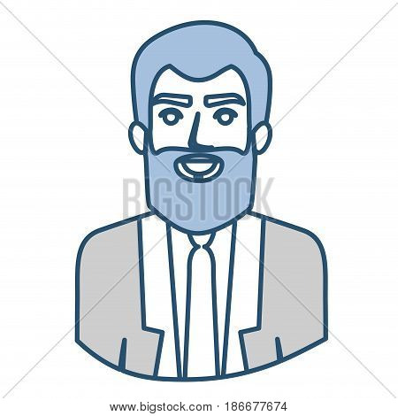 blue silhouette with half body of man with beard and formal suit vector illustration