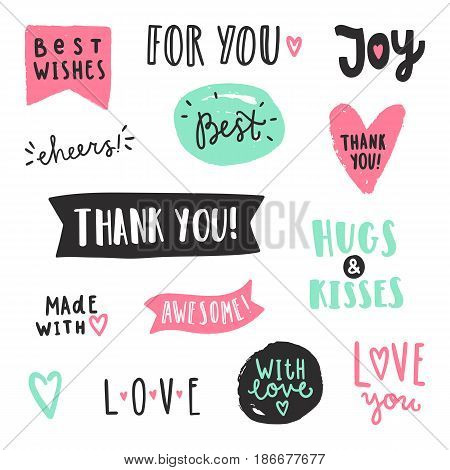 Set of text labels. Vector hand drawn illustration