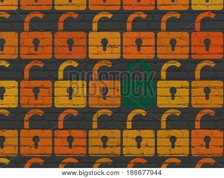 Safety concept: rows of Painted orange opened padlock icons around green closed padlock icon on Black Brick wall background