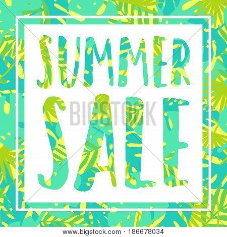 Summer sale. Tropical style banner. Vector illustration