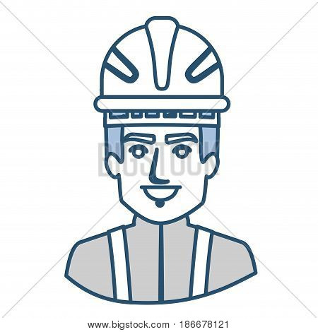 blue silhouette with half body of firefighter vector illustration