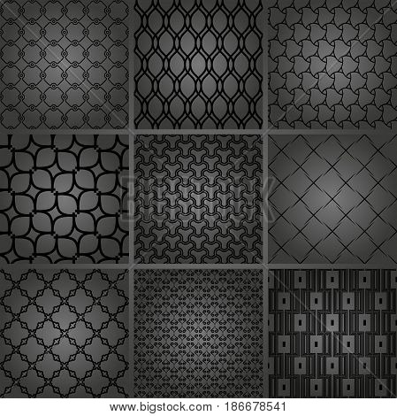 Set of dark seamless geometric patterns for your designs and backgrounds. Geometric abstract ornament. Modern ornaments with repeating elements