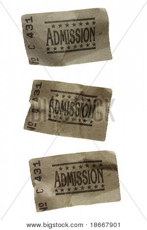 Close-Up of Three CRUMPLED General Admission Tickets